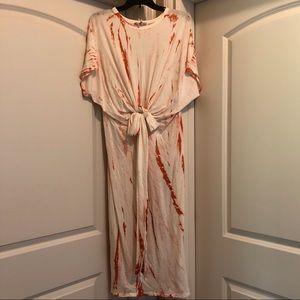 Zara white/orangy red cotton maxi dress NWT